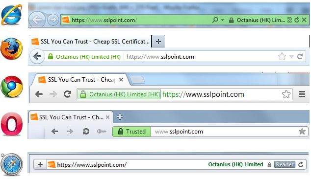 SSL Certificate Extended Validation - Browser View