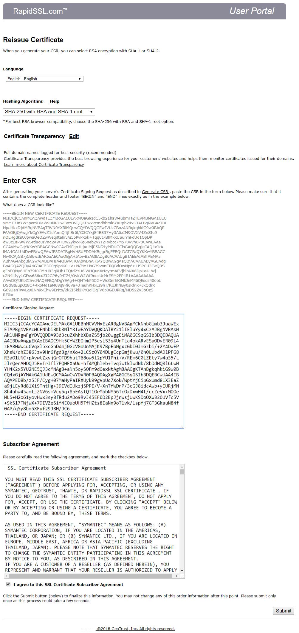 Reissue Rapidssl Geotrust Thawte Symantec Certificates Sslpoint